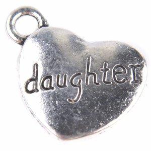 Zilver Bedel hart 'daughter' Zilver 18x15mm - 5 stuks