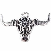 Zilver Bedel filigraan buffel skull Zilver 35x53mm