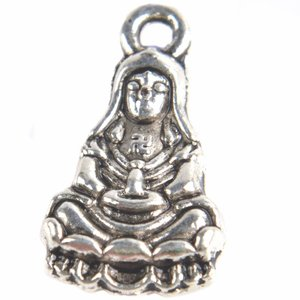 Zilver Bedel Avalokitesvara buddha Zilver 17x10mm - 6 stuks