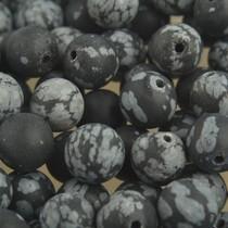 Zwart Edelsteen Frosted Snowflake Obsidian 8mm