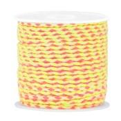 Geel Trendy surfkoord koord geweven Neon pink-neon geel 1,3mm dik - 1 meter