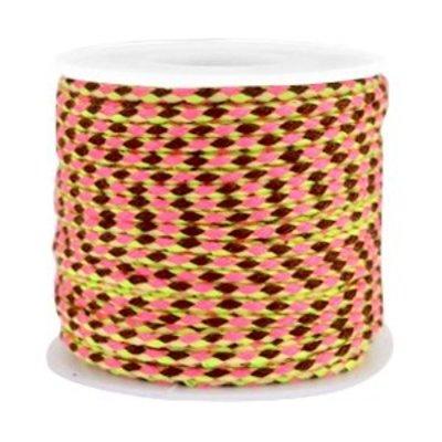Roze Trendy surfkoord koord geweven Bruin-roze-neon geel 1,3mm dik - 1 meter