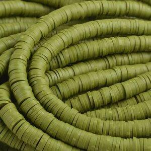 Groen Disc kralen 6x1mm Donker olijf groen ±200 stuks