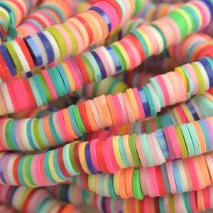 Multicolor Disc kralen 6x1mm Lichte multicolor ±200 stuks
