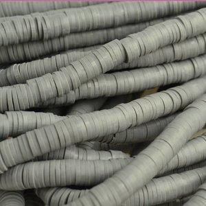 Grijs Disc kralen 6x1mm Donker grijs ±200 stuks