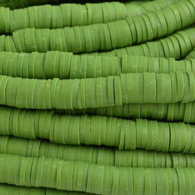 Groen Disc kralen 6x1mm Donker zeegroen ±200 stuks