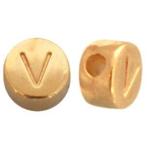 Goud Kraal letter 'V' Ø2mm Goud DQ 7mm