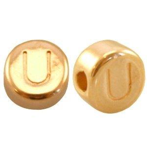 Goud Kraal letter 'U' Ø2mm Goud DQ 7mm