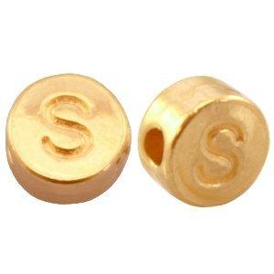 Goud Kraal letter 'S' Ø2mm Goud DQ 7mm