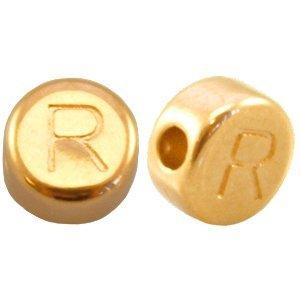 Goud Kraal letter 'R' Ø2mm Goud DQ 7mm