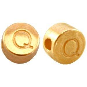 Goud Kraal letter 'Q' Ø2mm Goud DQ 7mm