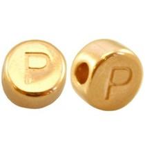 Goud Kraal letter 'P' Ø2mm Goud DQ 7mm