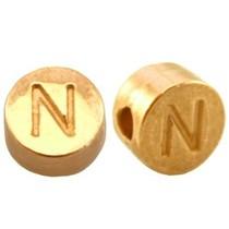 Goud Kraal letter 'N' Ø2mm Goud DQ 7mm