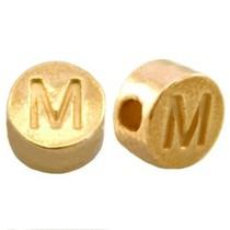 Goud Kraal letter 'M' Ø2mm Goud DQ 7mm