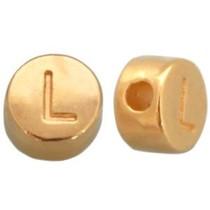 Goud Kraal letter 'L' Ø2mm Goud DQ 7mm