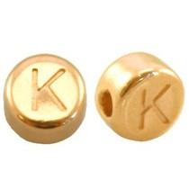 Goud Kraal letter 'K' Ø2mm Goud DQ 7mm