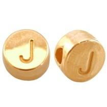 Goud Kraal letter 'J' Ø2mm Goud DQ 7mm