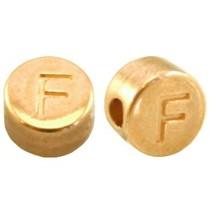 Goud Kraal letter 'F' Ø2mm Goud DQ 7mm