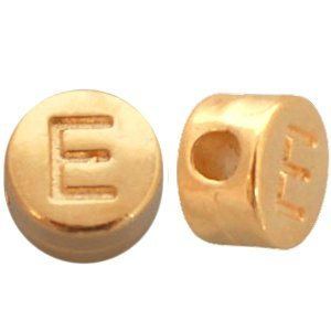 Goud Kraal letter 'E' Ø2mm Goud DQ 7mm