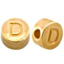 Goud Kraal letter 'D' Ø2mm Goud DQ 7mm