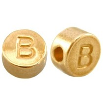 Goud Kraal letter 'B' Ø2mm Goud DQ 7mm
