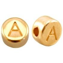 Goud Kraal letter 'A' Ø2mm Goud DQ 7mm