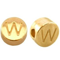 Goud Kraal letter 'W' Ø2mm Goud DQ 7mm