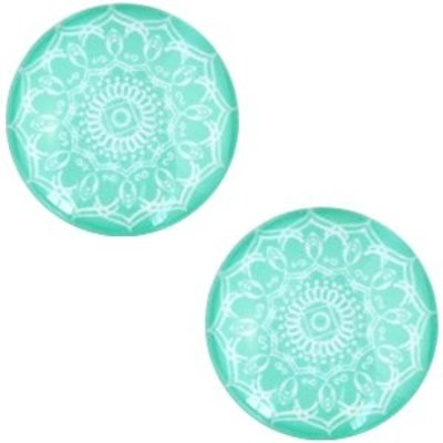 Turquoise Glascabochon mandala Turquoise green 12mm