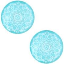 Turquoise Glascabochon mandala  Turquoise blue 12mm