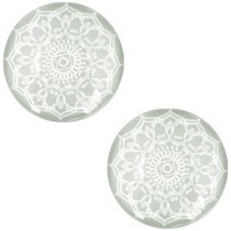 Groen Glascabochon mandala  Light greenish grey 12mm