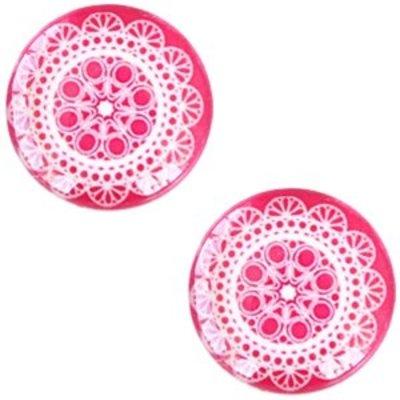 Roze Glascabochon mandala Dark rose 12mm