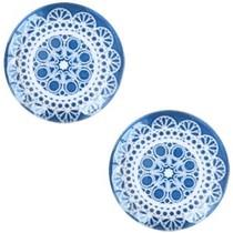 Blauw Glascabochon mandala Denim blue 12mm