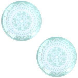 Turquoise Glascabochon mandala Light turquoise 12mm