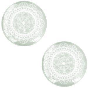 Groen Glascabochon mandala Light greenish grey 12mm