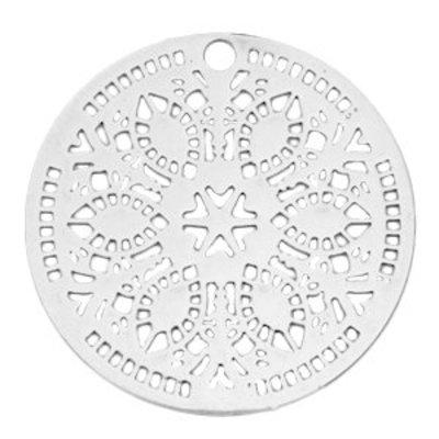Zilver Bohemian hanger rond flower Zilver 36mmCopy