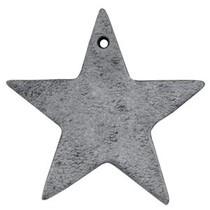 Grijs Leer hanger ster Antracita zwart 5x5cm