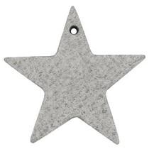 Grijs Leer hanger ster Graphite grijs 5x5cm