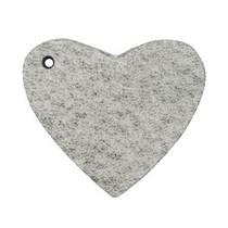 Grijs Leer hanger hart Graphite grijs 4x4.5cm