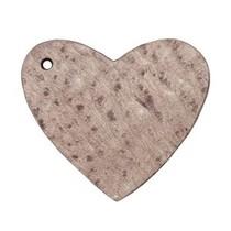 Bruin Leer hanger hart Chocolate brown 4x4.5cm