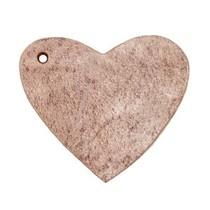 Bruin Leer hanger hart Smoke cognac brown 4x4.5cm
