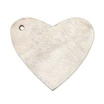 Grijs Leer hanger hart Country grey 4x4.5cm