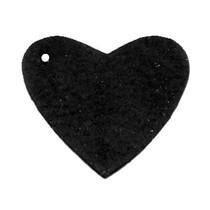 Zwart Leer hanger hart Vintage black 4x4.5cm
