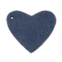Blauw Leer hanger hart Dark denim blue 4x4.5cm
