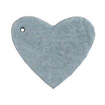 Grijs Leer hanger hart Grey 4x4.5cm
