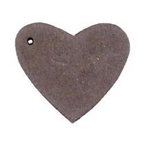 Bruin Leer hanger hart Dark vintage brown 4x4.5cm