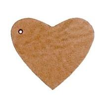 Bruin Leer hanger hart Light cognac brown 4x4.5cm