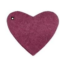 Paars Leer hanger hart Light aubergine red 4x4.5cm