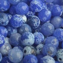 Blauw Edelsteen facet agaat blauw kraal rond 8mm