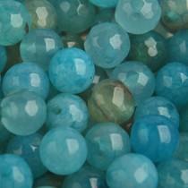 Blauw Edelsteen crackle aqua agaat kraal rond 8mm