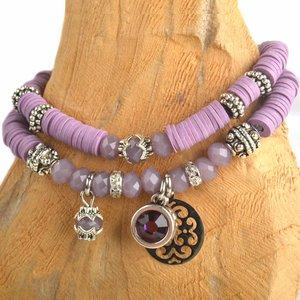 Paars DIY pakketje Fall discs Aubergine purple - 2 armbanden